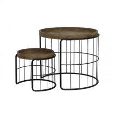 Side table S/2 max 68,5x59,5 cm YORITO metal black+wood