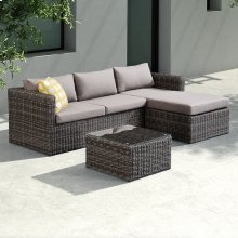 Armen Living Hagen 3 piece Outdoor Rattan Sectional Chase Set with Dark Brown Cushions and Modern Accent Pillows