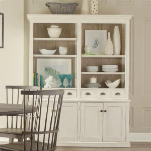 RiversideJuniper - China Cabinet Hutch - Chalk Finish