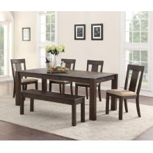 Dining Table, 4 Chairs & Bench