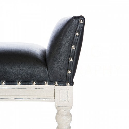 Simon Black Leather Long Bench