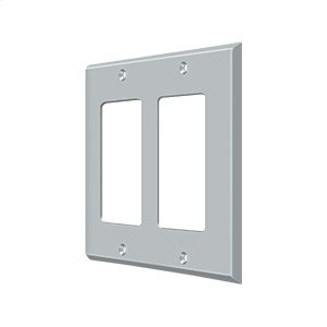 Switch Plate, Double Rocker - Brushed Chrome