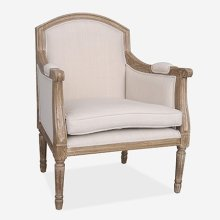 (LS) Agatha Cabriolet Upholstered chair. Cream linen fabric