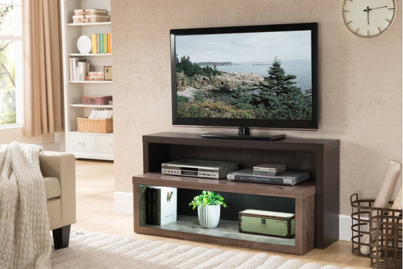 Hidden Additional Riley Holliday Terraces Contemporary Wood Tv Console In Two Tone Cacao Sealskin With