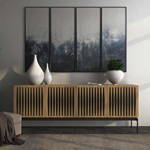 Quad Cabinet With Console Base in Wheat Doors Charcoal Stained Ash