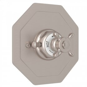 Satin Nickel Perrin & Rowe Edwardian Octagonal Concealed Thermostatic Trim Without Volume Control with Edwardian Cross Handle