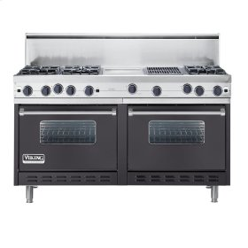 "Graphite Gray 60"" Open Burner Commercial Depth Range - VGRC (60"" wide, six burners 12"" wide griddle/simmer plate 12"" wide char-grill)"