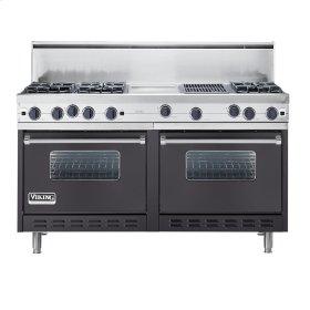 "Graphite Gray 60"" Open Burner Commercial Depth Range - VGRC (60"" wide, six burners 12"" wide griddle/simmer plate 12"" wide char-grill)"