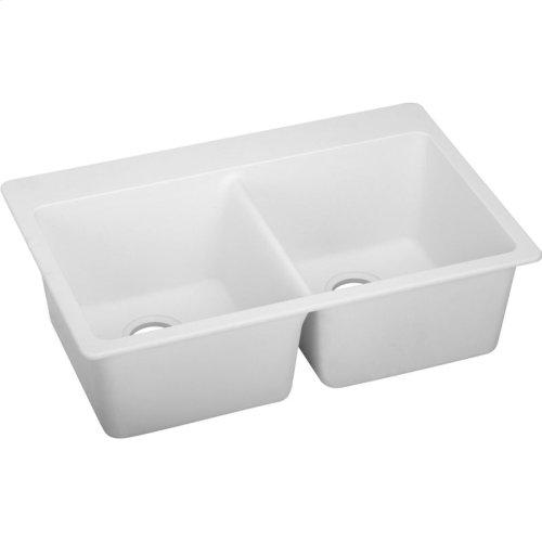 "Elkay Quartz Classic 33"" x 22"" x 9-1/2"", Equal Double Bowl Drop-in Sink, White"