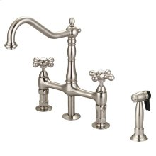 Emral Kitchen Bridge Faucet with Metal Button Cross Handles - Brushed Nickel