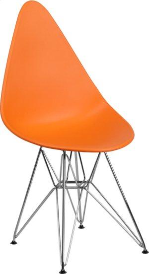 Allegra Series Teardrop Orange Plastic Chair with Chrome Base