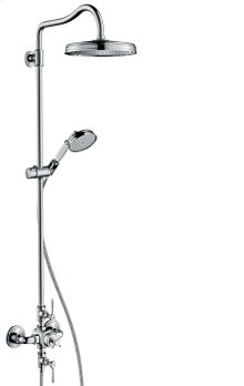 Chrome Showerpipe with thermostat and overhead shower 240 1jet