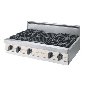 "Oyster Gray 36"" Open Burner Rangetop - VGRT (36"" wide, four burners 12"" wide char-grill)"