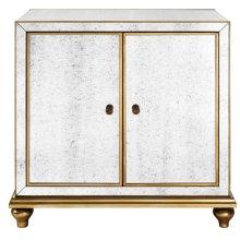 Antique Mirrored Wine Door Cabinet with Gold Trim