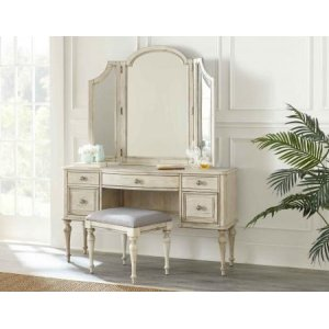 Steve Silver Co.3-Piece Highland Park Vanity Set, Cathedral White (Vanity Desk, Tri-fold Mirror and Bench)