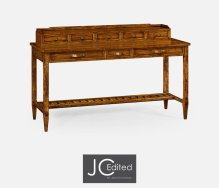 Country Walnut Plank Buffet with Strap Handles