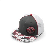 Grey & White Hat w/ Red Camo Bill and RF Patch (S/M)