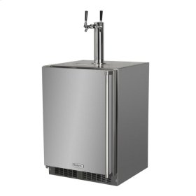 """Outdoor 24"""" Twin Tap Built In Beer Dispenser - Marvel Refrigeration - Solid Stainless Steel Door With Lock - Left Hinge"""