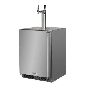 """MarvelOutdoor 24"""" Twin Tap Built In Beer Dispenser - Marvel Refrigeration - Solid Stainless Steel Door With Lock - Left Hinge"""