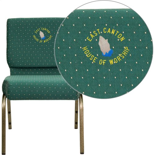 Embroidered HERCULES Series 21''W Stacking Church Chair in Hunter Green Dot Patterned Fabric - Gold Vein Frame