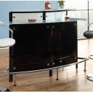 Two-shelf Contemporary Chrome and Black Bar Unit Product Image