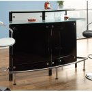 Two-shelf Contemporary Chrome and Black Bar Unit Product Image
