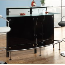 Two-shelf Contemporary Chrome and Black Bar Unit