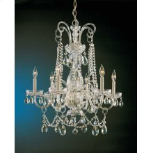 Traditional Crystal 6 Light Crystal Brass Chandelier