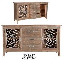 Bengal Manor Acacia Wood and Aluminum 2 Door 3 Drawer Sideboard