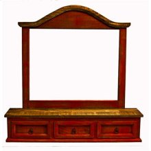 """Mirror Three Drawers : 47"""" x 10"""" x 47"""" Red Color Cross Collection"""