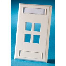 Single gang plastic faceplate, holds four Keystone jacks or modules, Electrical Ivory