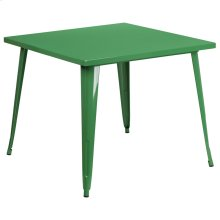 35.5'' Square Green Metal Indoor-Outdoor Table