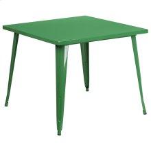 35.5'' Square Green Metal Indoor-Outdoor Table