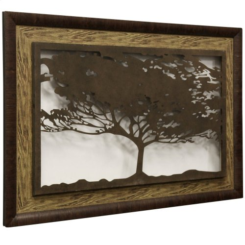 Metal Laser Cut Tree II  2-Step Framed Panel