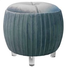 Helena KD Small Round Tufted Ottoman Acrylic Legs, Emerald Green