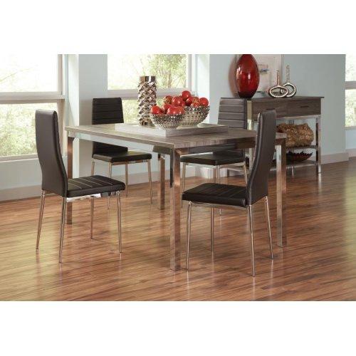 Eldridge Weathered Grey and Chrome Five-piece Dining Set