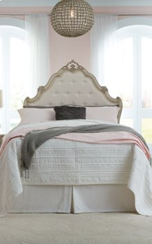 Twin Panel Headboard with Frame and Dresser with Mirror and Nightstand