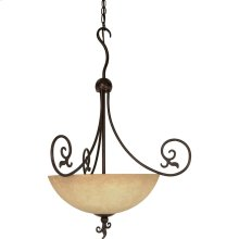 "3-Light 24"" Old Bronze Hanging Pendant Light Fixture with Tuscan Suede Glass"