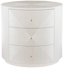 Axiom Round Chairside Table in Linear White (381)