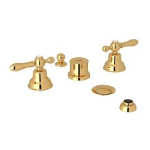 Italian Brass Arcana Five Hole Bidet Faucet with Arcana Series Only Classic Metal Lever