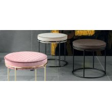 Upholstered metal pouffe