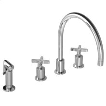 Cross handle 4-hole kitchen mixer with pull-out hand spray