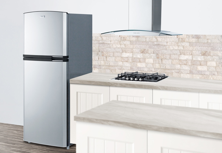 Additional Counter Depth Frost Free Refrigerator Freezer With Stainless  Steel Doors, Platinum Cabinet