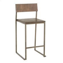 Industrial Fuji Counter Stool - Set Of 2 - Antique Metal, Espresso Bamboo