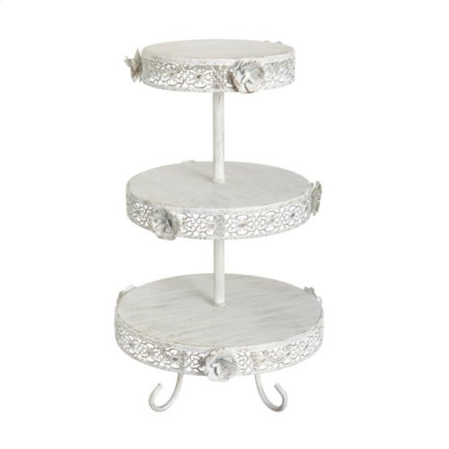 White and Gold Rose Three-Tier Stand.
