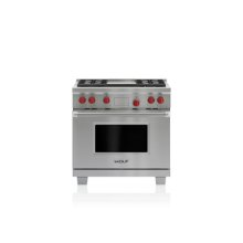 """36"""" Dual Fuel Range - 4 Burners and Infrared Griddle"""
