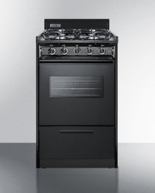 """20"""" Wide Gas Range In Black With Sealed Burners, Oven Window, Interior Light, and Electronic Ignition"""