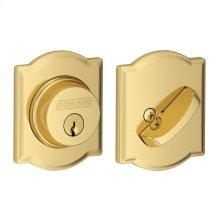 Single Cylinder Deadbolt with Camelot trim - Bright Brass