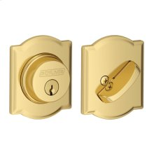 Single Cylinder Deadbolt with Camelot trim - Bright Brass
