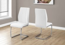 """DINING CHAIR - 2PCS / 39""""H / WHITE LEATHER-LOOK / CHROME"""
